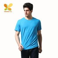 Orange X L Short Sleeved Cotton Plain T Shirts For Men Casual Style O Neck Men