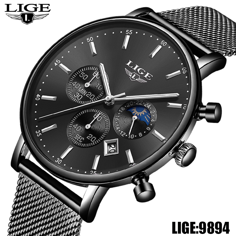 LIGE Mens Watches Top Brand Luxury Mens Casual Sport Watch Men Stainless Steel Waterproof Watch Quartz Watch Orologio Uomo+Box tophill men s wrist watch japan movement classic men luxury quartz watches genuine leather waterproof watch orologio uomo