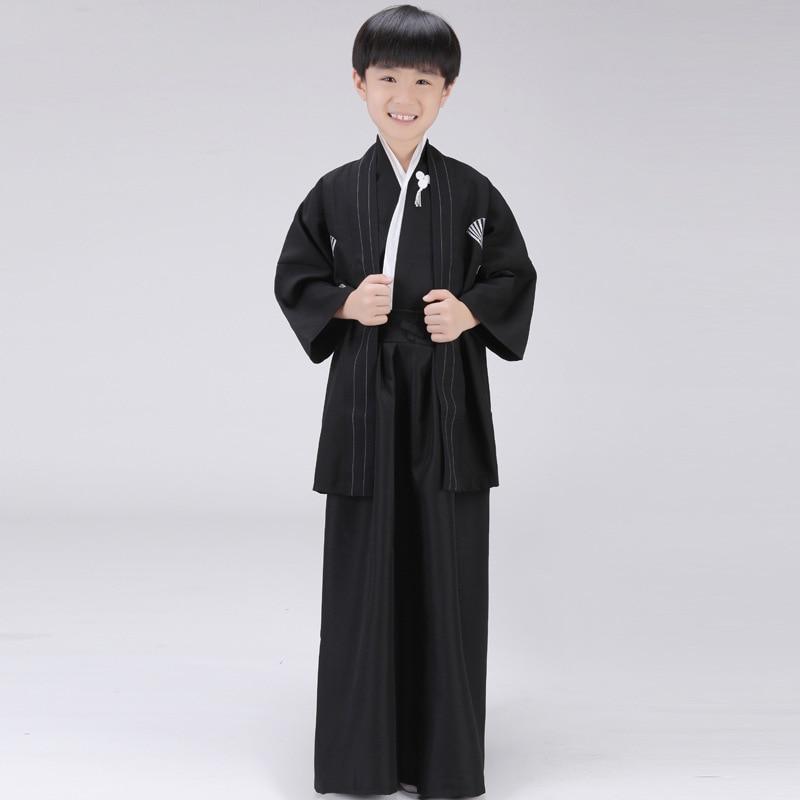 Siyah Japon Erkek Kimono Çocuk Savaşçı Geleneksel Kılıçlı - Ulusal Kıyafetler - Fotoğraf 5