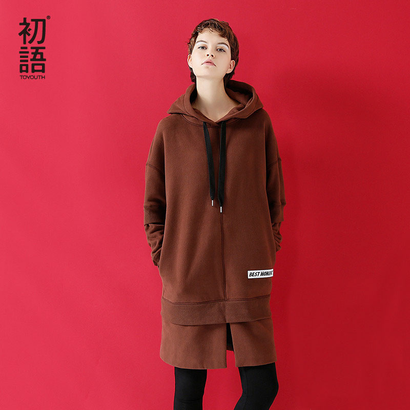 Toyouth 2019 New Korean Hoodie Dress Women Long Hooded Sweatshirt Loose Fleece Warm Moletons Feminino Black Brown Tracksuit