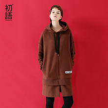 Toyouth 2019 New Korean Hoodie Dress Women Long Hooded Sweatshirt Loose Fleece Warm Moletons Feminino Black Brown Tracksuit(China)