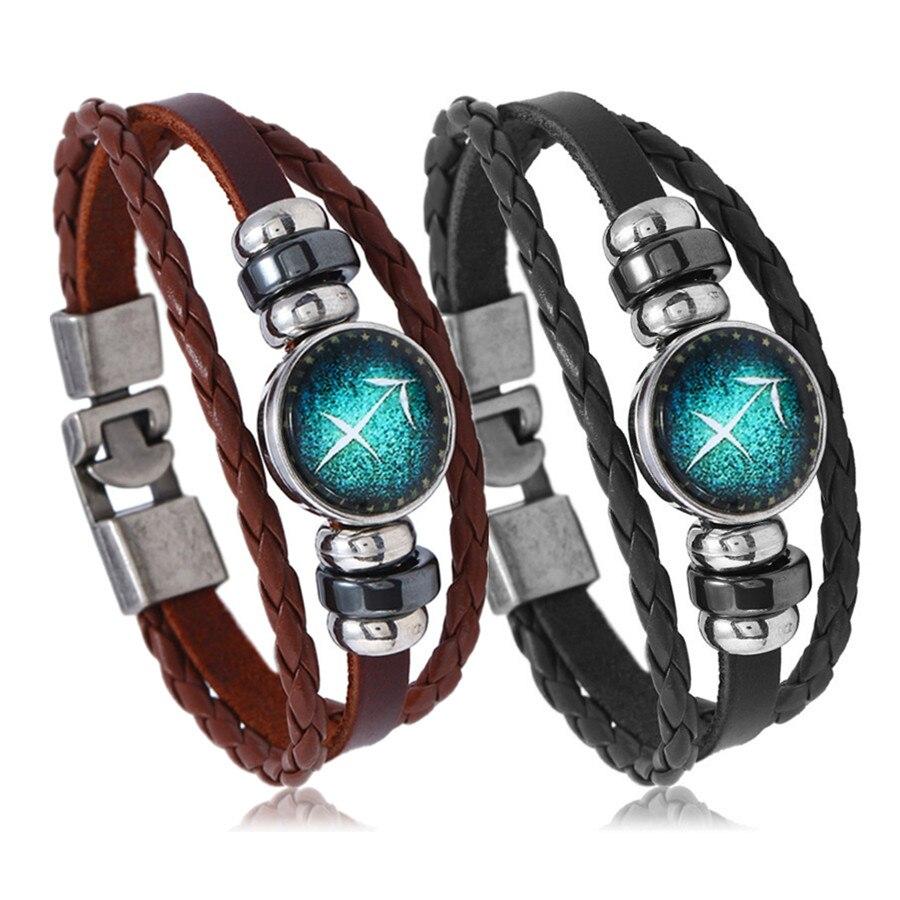 12 Constellations Bracelets Men Women Vintage Time Stone Alloy Beaded Leather Bracelets Bangle Gift Jewelry Birthday Present