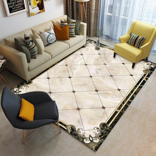 Textura de mármore Tapete Sala de estar Quarto Casa Tapete Tapete Sofá Mesa de Café Tapete Breve Estudo Nordic Quarto Tapetes Crianças tatami