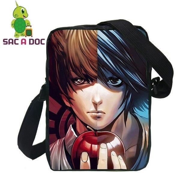83734cf24f96e Anime Death Note L Light Split Messenger Bag Women Men Mini Handbags  Cartoon L Light Printing Small Shoulder Bags for Children