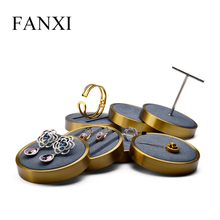 FANXI New Metal Earring Display with Stand Bracelet Support  Clear & Matte Jewelry Ring Holder Organizer Exhibitor