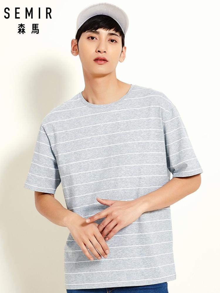 SEMIR O Neck Short Sleeve Men T Shirt Men Cotton Stripe Fashion European Size Tshirts Casual For Male T-shirt Tops
