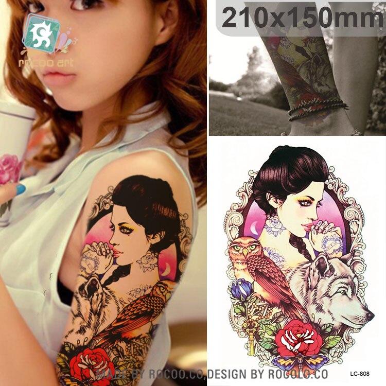 LC-808/21*15 cm grand autocollant de tatouage fille Sexy hibou loup conçoit tatouage temporaire Rose fleur nouveauté 2017 mode