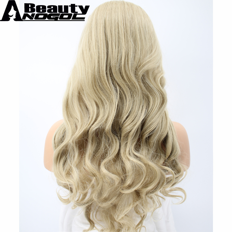 ANOGOL BEAUTY Hair Cap+Middle Part Natural Long Body Wave Blonde Heat Resistant Synthetic Wig For White Women