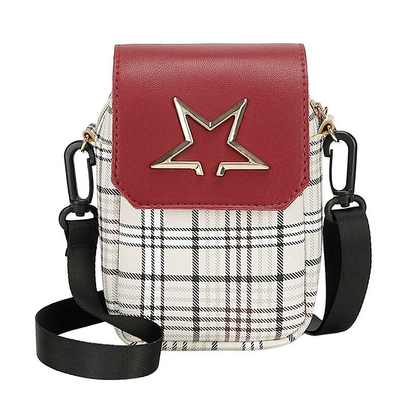Small Messenger Bags For Mobile Phone Pvc Floral Girl Mini Shoulder Bag Shoulder Bag Mini Hit Color Check Small Bag