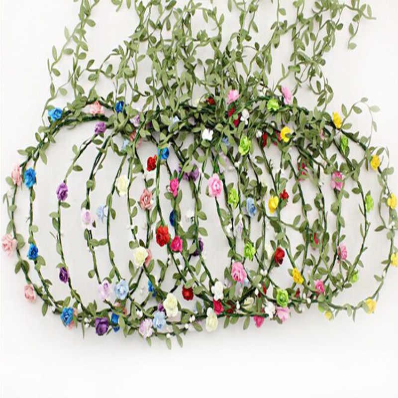 5 ярдов шелковая ткань цветы зеленые листья гирлянда украшения для баннеров DIY Свадебная вечеринка лента для дня рождения Подарки Ремесло Декор Аксессуары