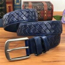 Braided Belt Blue Leather Belt Mens Belts Luxury Blue Men Belts Wide Ceinture Homme Male Strap  Men's Waist Riem MBT0276B