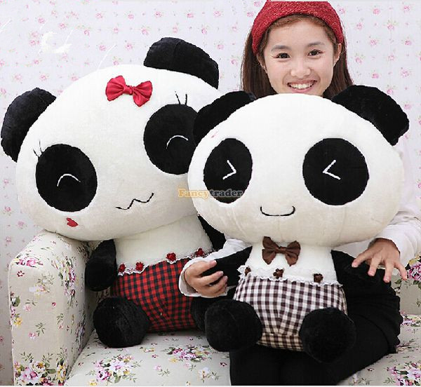 Fancytrader 26'' / 67cm Giant Soft Plush Stuffed Lover Cartoon Panda Toy, 2 Colors Available, Nice Gift, Free Shipping FT50444 1pc oversize huge 80cm funny stuffed simulated panda toy giant filling panda plush doll nice gift and decoration