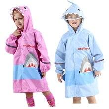 Милое водонепроницаемое нейлоновое дождевик с изображением акулы, ветрозащитное пончо для мальчиков и девочек, детский дождевик для детского сада