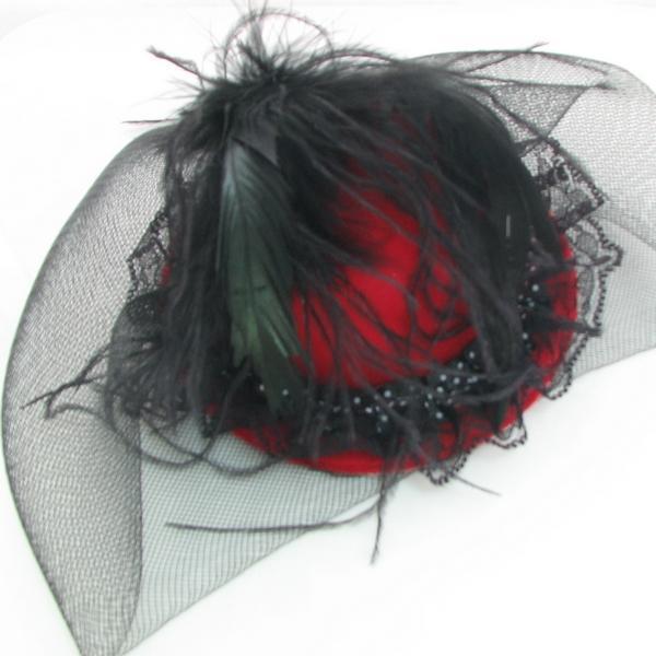 New fascinator hat burlesque feather face veil  hen party veil mini hat hair clip