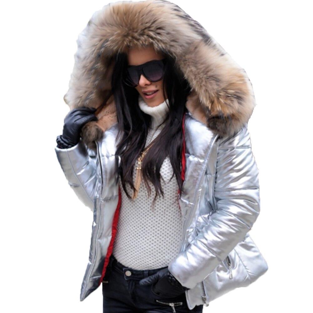 Dimensioni Giacca Argento Di Stile Sportiva Corta Pelliccia Cappuccio Plaid  Tuta 2018 Della Chiusura Femminile Cappotto Cappotti Lampo Modo Invernale  ... 856c095ca6de