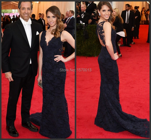 Emily Cole Navy Lace Celebrity Dress Mermaid Deep V Neck Open Back Red  Carpet Evening Party Gown Brand New Full Length 3f8f9f67c95e