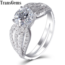 Transgems Luxury Center 3ct 9mm F Color Moissanite Engagement Ring for Women with Accents