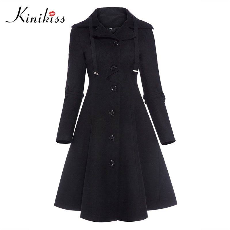 Kinkiss Women Winter Long Trench Coat Black Gothic Turn Down Collar Button Vintage Overcoat Tunic Skirt Slim Lady Outwear Coats