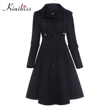 цена на Kinkiss Women Winter Long Trench Coat Black Gothic Turn Down Collar Button Vintage Overcoat Tunic Skirt Slim Lady Outwear Coats