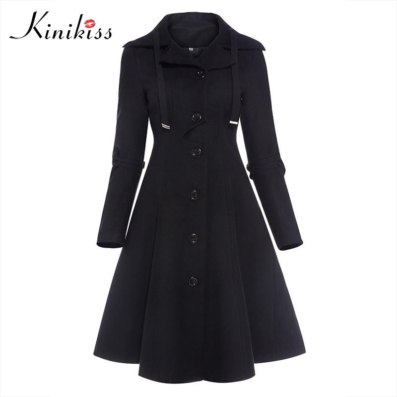 Kinikiss las mujeres invierno largo abrigo negro gótico cuello botón abrigo vestido Vintage falda delgada dama prendas abrigos