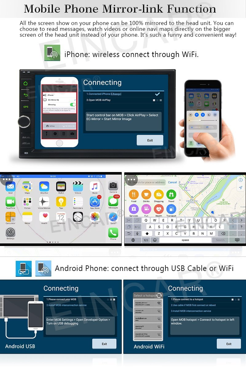 Eincar Anroid 6.0 автомобилей палуба Авто Стерео нет dvd-плеер Радио головное устройство Двойной Дин авто GPS Развлечения 1080 P Wi-Fi MirrorLink