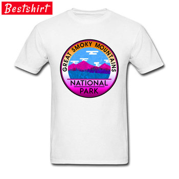 Smokies Tennessee North Caro Landscape T shirt Great Smoky Mountains National Park White Holiday Tshirt Good Quality Tops image