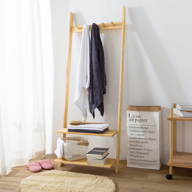 Creative Solid Wood Floor Coat Racks Stand Ladder Shape Nordic Brief Hat Display Clothes Rack Clothes Hanger Stand Books Shelves