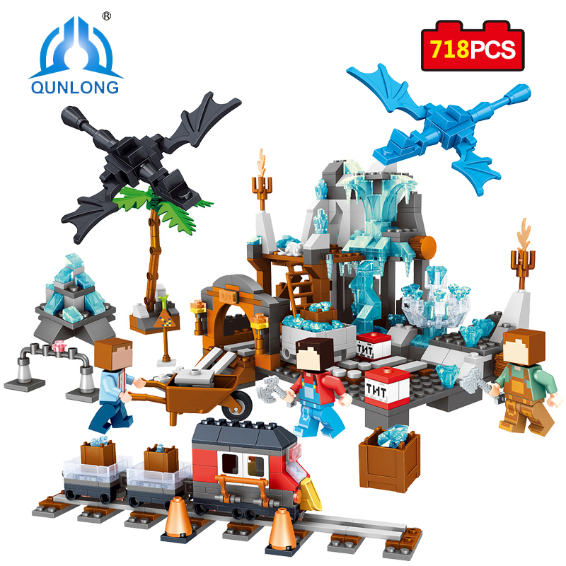 Qunlong Action Toy Figures Minecrafted Crystal Building Blocks Enlighten Bricks For Kids Gifts Compatible Legoed Minecraft City 2 sets jurassic world tyrannosaurus building blocks jurrassic dinosaur figures bricks compatible legoinglys zoo toy for kids