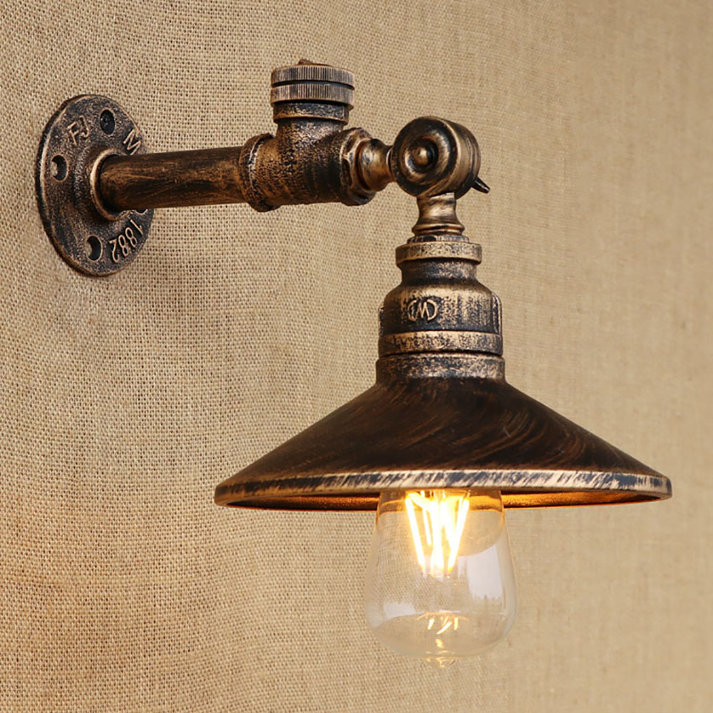 Loft 4 color steam punk iron rust Water pipe retro wall lamp Vintage e27 sconce lights with switch for bedroom restaurant bar купить steam аккаунт rust онлайн магазин