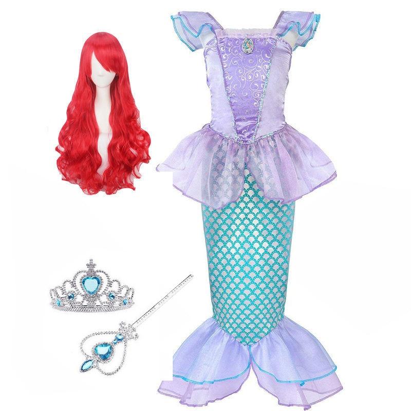 Children Clothes Little Mermaid Fancy Kid Girls Mermaid Dresses Princess Ariel with Headband Cosplay Halloween