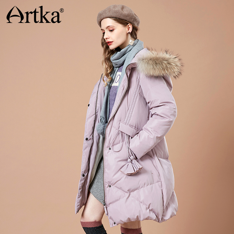 ARTKA 2018 Autumn and Winter New Women Solid  90% White Duck Down Jacket Tassels Warm Fur Collar Female Hooded Coat YK10683D