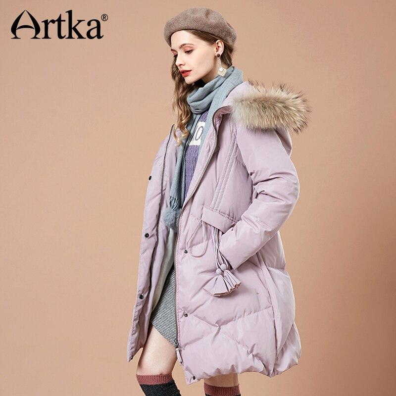 Kadın Giyim'ten Şişme Montlar'de ARTKA 2018 Sonbahar ve Kış Yeni Kadın Katı 90% Beyaz Ördek Aşağı Ceket Püsküller Sıcak Kürk Yaka Kadın kapüşonlu ceket YK10683D'da  Grup 1