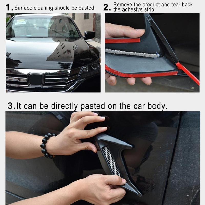 VODOOL 2pcs ABS Universal Decorative Car Air Flow Intake Hood Scoop BonnetVent Vehicles Exterior Accessories Car Sticker Covers in Car Stickers from Automobiles Motorcycles