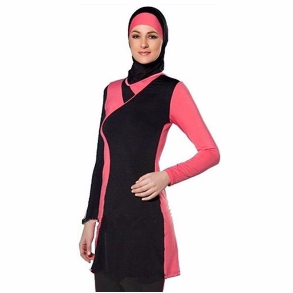 Muslim Swimsuit Modest Islamic Suit 2 Pieces Connected Hijab Arab Swimwear Burkinis for Women Girls Four piece suit 2017