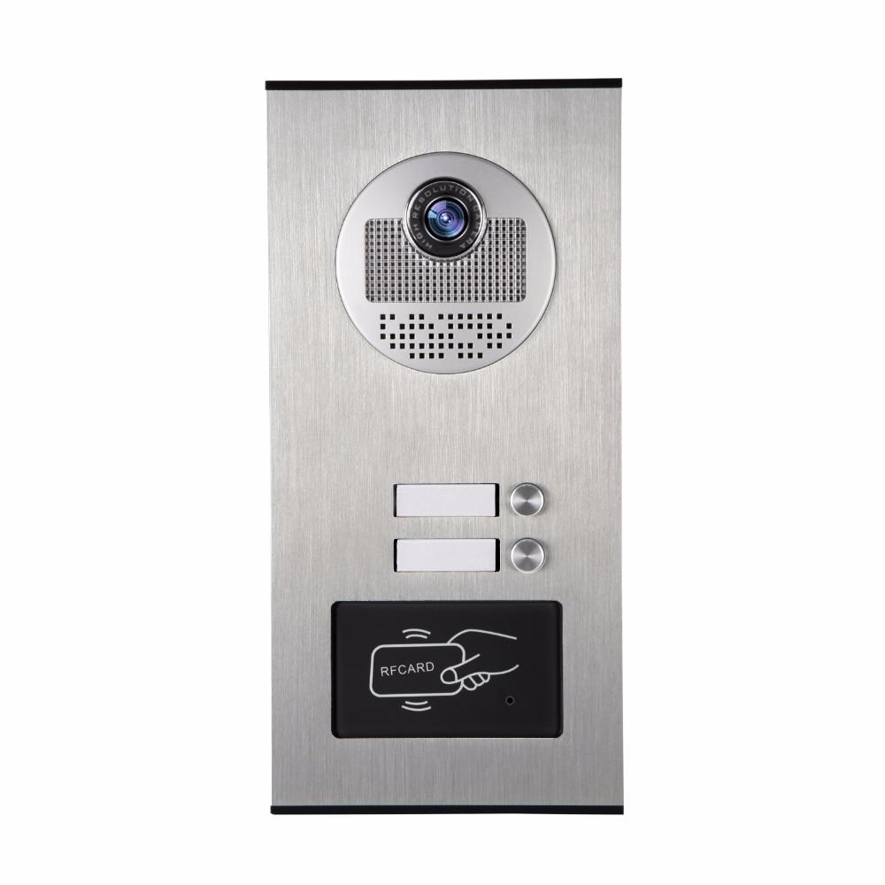 YobangSecurity Metal Aluminum Outdoor RFID Access Control Doorbell Camera For 2 Units Apartment Video Intercom Door Phone System yobangsecurity video door phone intercom entry system 7inch video doorbell door camera rfid access control 1 camera 4 monitor