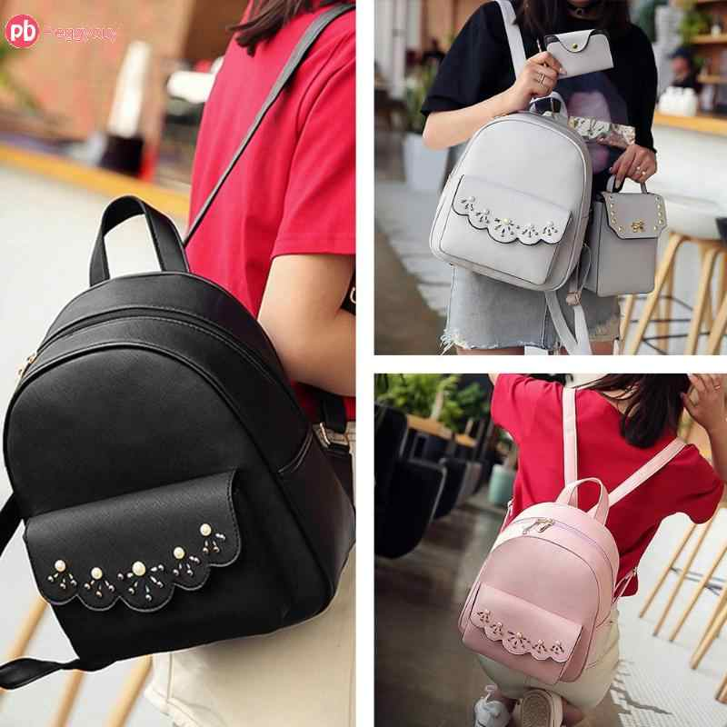 3pcs/Set Women Girls Shoulder PU Leather School Backpack Casual Beads Rivet Mochila Travel Bag Mochila composite bag
