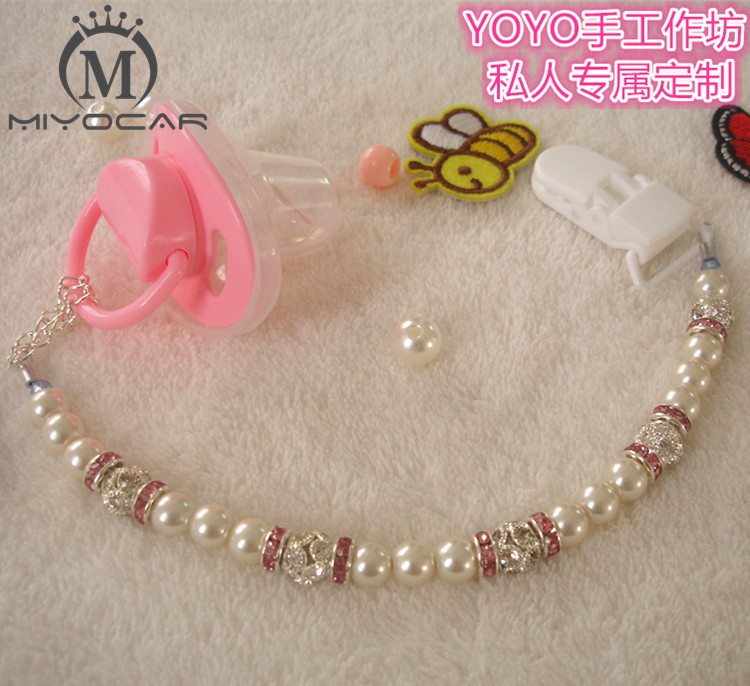 MIYOCAR Håndlaget nydelig Crystalin perle perler dummy clip holder spenne klips og pacifier holder for baby DC004