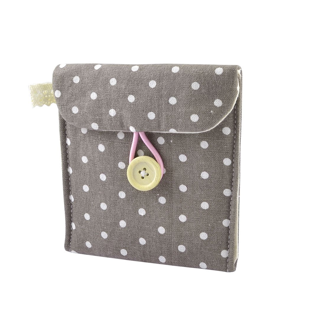Hot Girl Cotton Blends Polka Dots Sanitary Pad Holder Button Bag Case Gray White