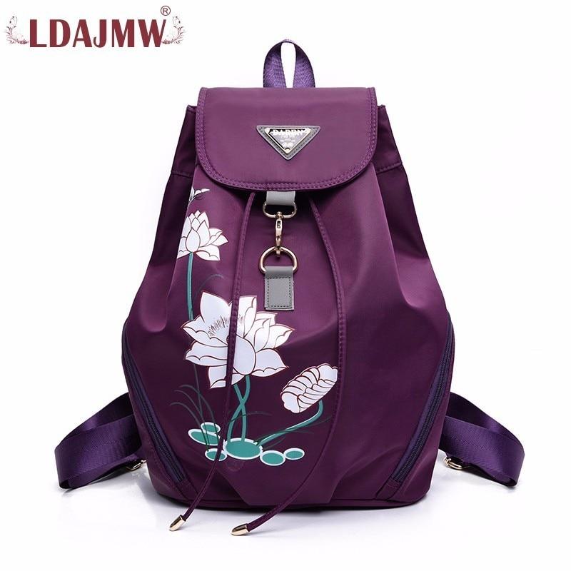 LDAJMW Nylon Printing Both Shoulders Package Concise Waterproof Travel Backpack High Crossbosy Bag for Girls Travel organizers
