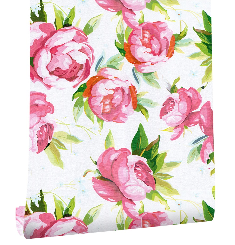 Haokhome Retro 3d Flower Wallpaper Self Adhesive Roll Whitepink