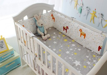 Promotion! 6pcs baby bedding bed around piece set 100% cotton cot nursery bedding,include(bumpers+sheet+pillow cover) promotion 6pcs baby bedding piece set 100