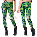 X-001 Novelty women leggings WOAH DUDE 2.0 HWMF LEGGINGS leaf pattern green pants