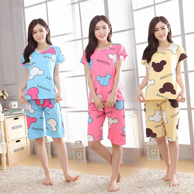 63a93acd735d Home wear clothes for women summer shorts pajamas sets 90S women s pajamas  plus top sleepwear for
