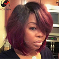 Ombre 1btburgundy Short Human Hair Bob Wig Lace Front Human Hair Bob Wigs Full Lace Human Hair Wigs With Baby Hair Ombre Wig