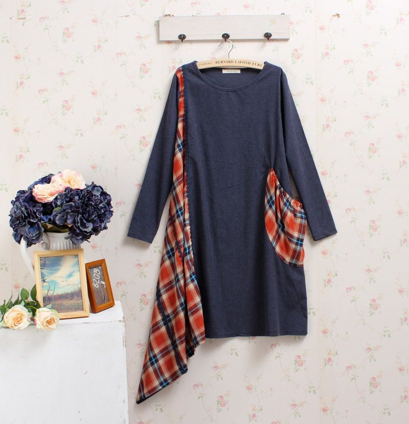 mori girl jurken patchwork harajuku hippie boho rockabilly vintage plaid roupa feminina mujer sequin fall winter autumn dress