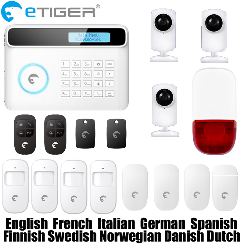 Free shipping etiger S4 Wireless 433mhz network GSM/PSTN RFID home security alarm system work with a SIM card on GSM network etiger gsm pstn intruder alarm system for home office wifi network camera ir beam detector 100m
