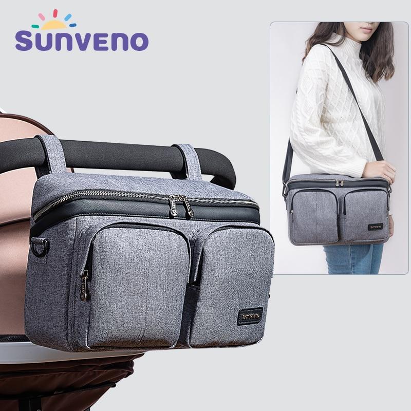 SUNVENO sac à couches pour bébé sac à couches organisateur de poussette sac de bébé maman voyage suspendu landau Buggy chariot bouteille sac