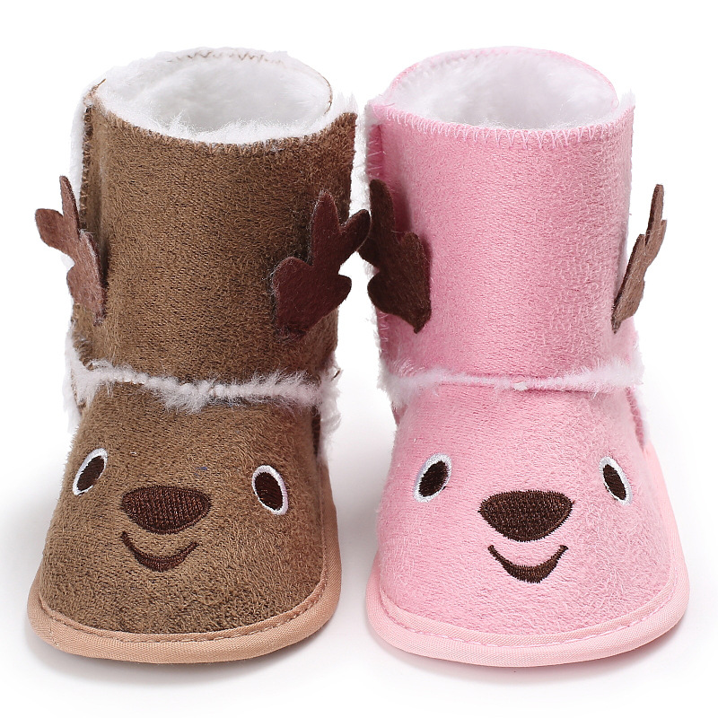 Winter Baby Shoes for Christmas Halloween Newborn Baby Boys Girls First Walkers Shoes Infant Toddler Warm Boots Booties 0-18 M