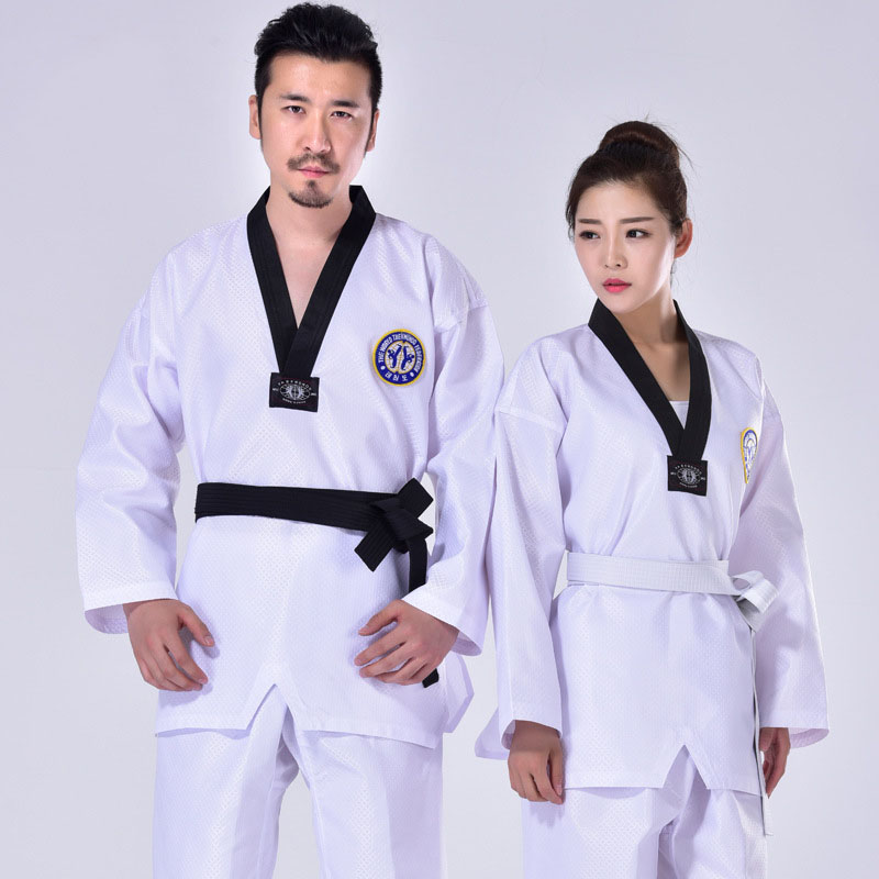 Taekwondo Uniform Clothes Traditional white suite for kids adult student Tae kwon do dobok Black V Neck MMA approve clothing F in Other Fitness Bodybuilding Products from Sports Entertainment