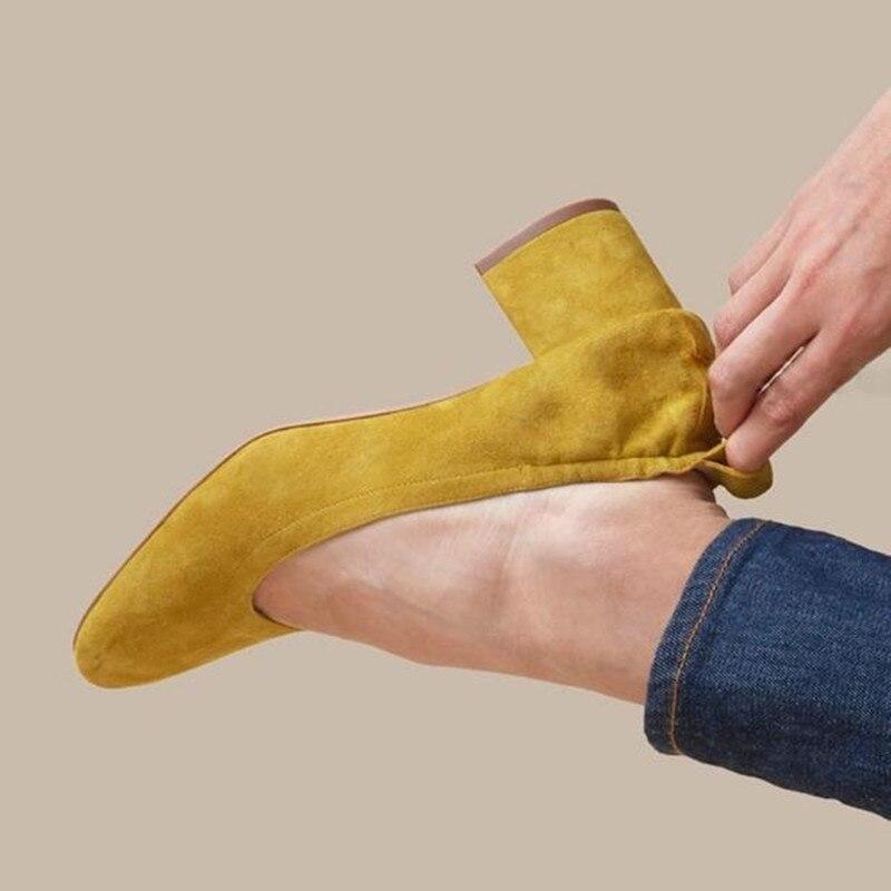 Chaussures pour femmes à talon moyen en cuir nubuck élégant noir jaune printemps chaussure à talon brut grande taille 40 41 talons femmes pompes obuv